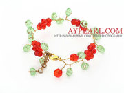 2013 Christmas Design Red and Green Crystal Crocheted Bracelet