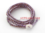 Purple Crystal Woven Wrap Bangle Bracelet
