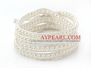 Fashion Style Round White Glass Beads Woven Wrap Bangle Bracelet