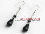 Dangling style drop shape black agate earrings is sold at US$ 1.73