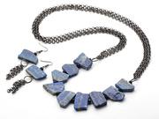 Vintage Style Lapis and Black Crystal Set