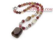 Three Colored Jade Necklace with Agate Pendant and Tibet Silver