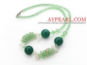 Green Crystal and Aventurine Necklace with Lobster Clasp