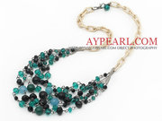 Green and Black Series Crystal and Black Agate and Seashell Necklace