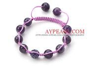 Dark Purple Series Round Amethyst and Rhinestone Beads Bracelet