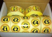 7 rolls of labels,  1000 per roll,  only €70