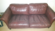 3 SEATER SOFT LEATHER BURGUNDY COUCH CARLOW EXCELLENT CONDITION